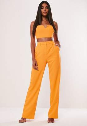 Missguided Neon Orange Co Ord Straight Leg Trousers