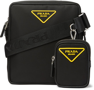 Prada Logo-Appliqued Saffiano Leather-Trimmed Nylon Messenger Bag