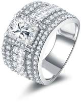 Epinki Women Rings, 925 Sterling Ring Engagement Rings Wedding Rings Streamline Design CZ Size 7.5