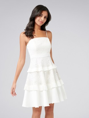 Forever New Angel Strappy Spliced Lace Dress - Porcelain - 4