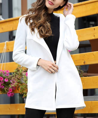Z Avenue Women's Non-Denim Casual Jackets white - White Fleece Jacket - Women & Plus