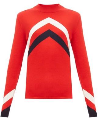 Perfect Moment Chevron-intarsia Merino-wool Sweater - Womens - Red