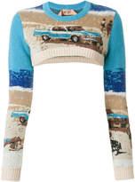 No.21 cropped slim-fit jumper