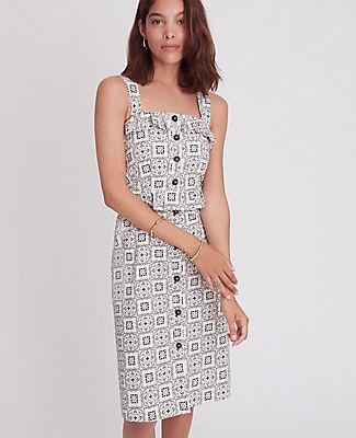 Ann Taylor Petite Tiled Ruffle Sheath Dress