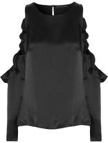 Cushnie et Ochs Cutout Ruffle-trimmed Silk-charmeuse Top - Black