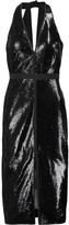 Halston Sequined stretch-jersey dress