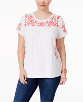 Charter Club Plus Size Cotton Embroidered Peasant Top, Only at Macy's