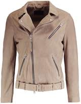 Allsaints Allsaints Kolton Biker Leather Jacket Mushroom Brown