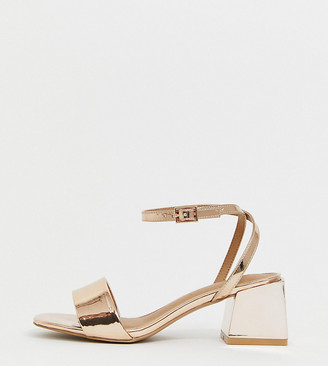 ASOS DESIGN Wide Fit Honeywell block heeled sandals in rose gold