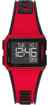 Diesel Men's Digital Chopped Red & Black Silicone Strap Watch 38x33mm