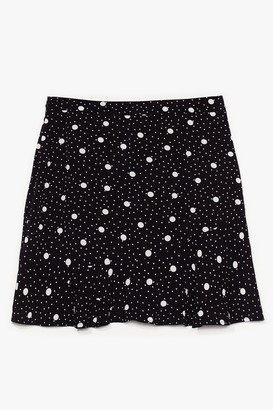Nasty Gal Womens It's Polka Dot Easy Plus Mini Skirt - Black - 22, Black
