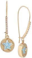 Betsey Johnson Gold-Tone Blue Shaky Crystal Star Disc Drop Earrings