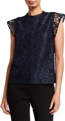 Nanette Lepore Nanette Lace High-Neck Cap-Sleeve Stitched Blouse