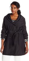 Larry Levine Women's Plus-Size Double-Breasted Hooded Trench Coat