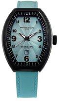 Montres de Luxe Women's EXL 8301 Estremo Lady Black PVD Light Blue Sunray Dial Leather Luminous Date Watch