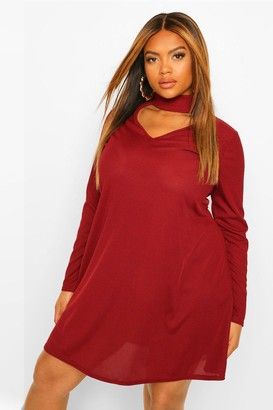 boohoo Plus Cut Out High Neck Swing Dress