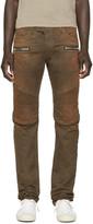 Balmain Brown Faded Biker Jeans