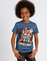 Marks and Spencer Cotton Rich MinecraftTM T-Shirt (3-14 Years)
