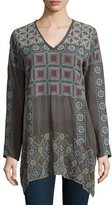 Johnny Was Geometric Embroidered Long-Sleeve Tunic, Plus Size