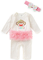 Baby Starters Baby Girls 3-12 Months Sock Monkey Tutu Coverall & Headband Set