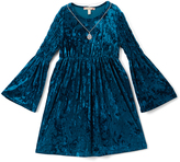 Speechless Dark Turquoise Velvet A-Line Dress - Girls