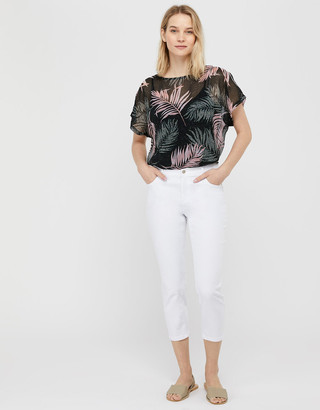 Monsoon Lola Palm Print Top in Recycled Fabric Black