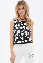 Forever 21 Sequin Floral-Embroidered Top