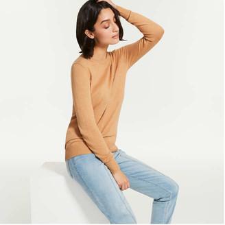 Joe Fresh Women's Cashmere Blend Pullover, Light Brown Mix (Size L)