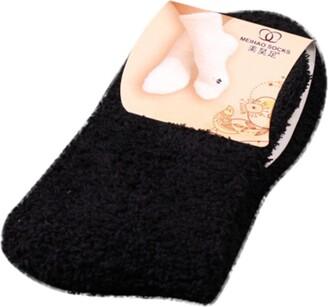 Tuduz Socks TUDUZ Home Women Girls Soft Bed Floor Socks Thermal Fluffy Warm Winter Pure Color Thicken Socks(Orange One Size)