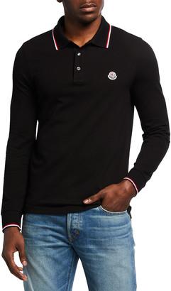 Moncler Men's Tipped Long-Sleeve Polo Shirt