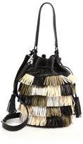 Loeffler Randall Industry Metallic Fringed Leather Bucket Bag