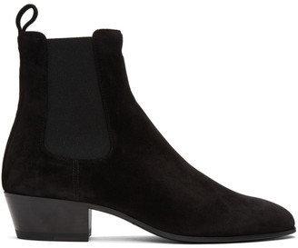 Saint Laurent Black Suede Cole Chelsea Boots