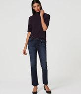 LOFT Modern Frayed Straight Leg Jeans in Dark Stonewash