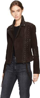 Bagatelle Women's Suede Western Biker Jacket with Lacing Details