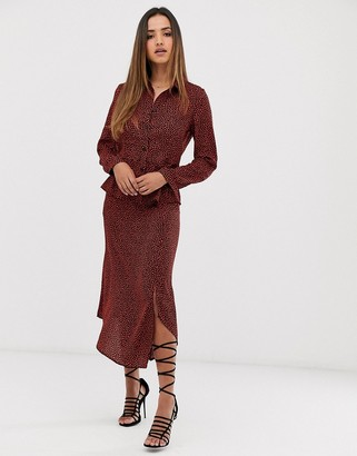 AX Paris front slit bias cut midi skirt coord