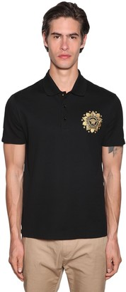 Versace 3b Logo Embroidery Cotton Polo Shirt