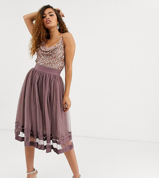Little Mistress Petite tulle midi skirt