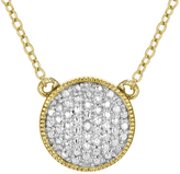 Zales Diamond Accent Puffed Disc Necklace in Sterling Silver and 18K Gold Plate