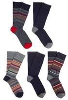 F&F 5 Pair Pack of Striped and Plain Fresh Feel Socks, Men's