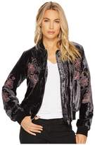 J.o.a. Embroidered Velvet Bomber Jacket Women's Coat