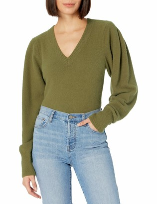 The Drop Women's Edith Pleated Shoulder V-Neck Sweater