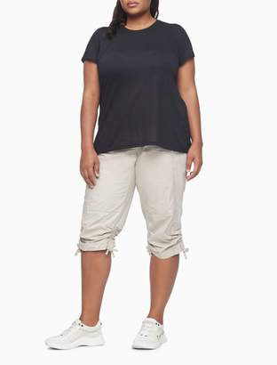 Calvin Klein Plus Size Performance Drawstring Cargo Capri Pants