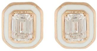Selim Mouzannar 18kt Rose Gold Emerald-Cut Diamond And Enamel Stud Earrings