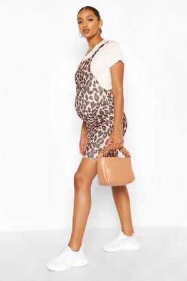 boohoo Maternity Leopard Print Pinafore Dress