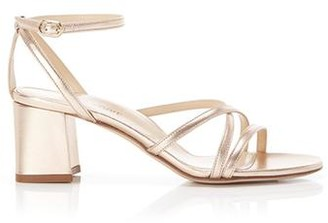 Marion Parke Bianca Rose Gold | Strappy Leather Block Heel Ankle Tie Sandal