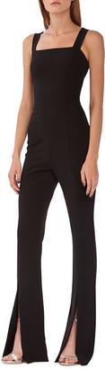 ML Monique Lhuillier Square-Neck Sleeveless Flare Jumpsuit w/ Slits