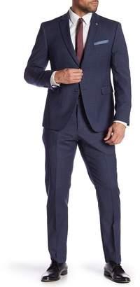 Original Penguin Blue Plaid Two Button Notch Lapel Trim Fit Suit