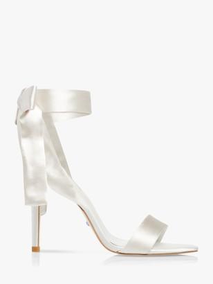 Dune Mirelle Satin Ribbon Tie Sandals, Ivory