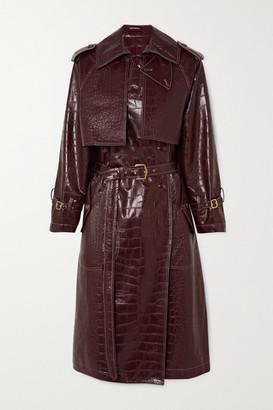 Sies Marjan Eva Croc-effect Faux Leather Trench Coat - Burgundy