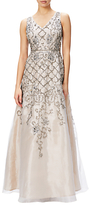 Adrianna Papell Sleeveless Organza Beaded Evening Gown, Ivory/Nude